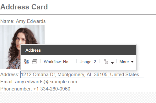 Address Card - content editable
